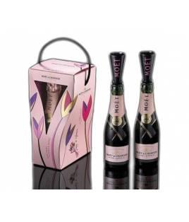 Moet & Chandon Rose imperial Mini 200 ml Pack 2 + Flauta